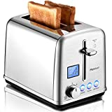Merece Toaster 2 Slice - Extra Wide Slot Stainless Steel Toaster, LCD Screen Digital Smart Toaster, Small Retro Bread Toaster with Bagel Defrost Reheat Cancel Function, 6 Shade Settings, 900W, Silver