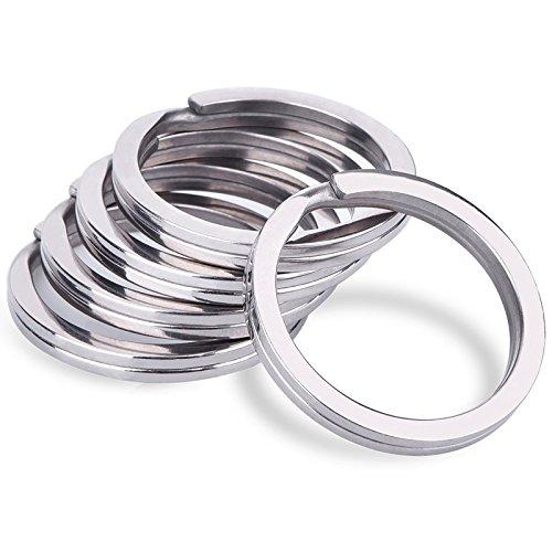 Marwotec Schlüsselringe 30mm Flach 50 Stück, Stahl gehärtet vernickelt, runder Schlüsselring, Schlüsselanhänger-Ring-Clips, (30mm 50 Stück)
