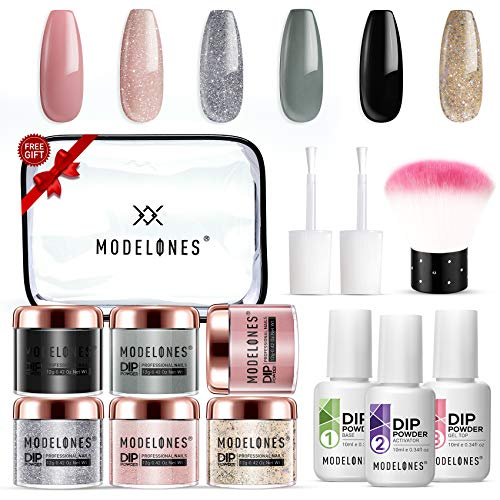 Dip Powder Kit for Starter with 6 Color,Dip Nail Starter Kit Dip System Acrylic Dip Nail Kit for French Nail Style No Lamp Needed Quick Do Nail Portable Kit