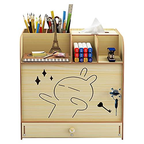 Organizador de escritorio de madera con organizador de archivos de bloqueo A4 para documentos de bricolaje,armario de almacenamiento para el hogar, la oficina y la escuela, color Arce blanco.