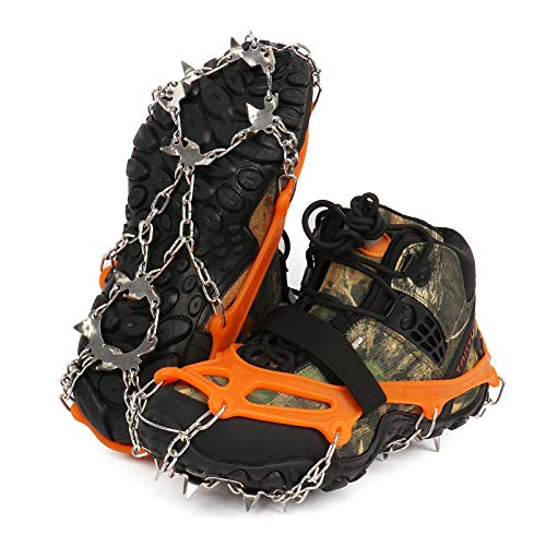 Zhovee 19 Spikes Crampons Anti Slip 19 Stainless Steel Spikes and Durable Silicone Safe Protect for Walking Jogging Climbing or Hiking on Snow and Ice Orange Large