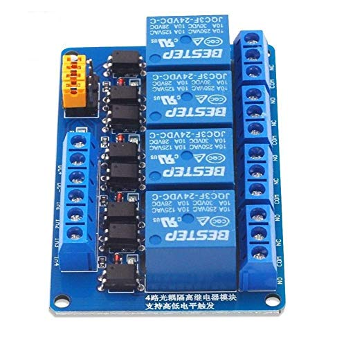 Allamp 4 Way 24V Relay Module High And Low Trigger Blue Board Spot Steuermodul (Size : 24v)