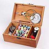 Madera Caja de Costura,Vintage Costurero,Vacíos Portátil Kit de Costura Funda Organizador Caja para Hilo/Agujas/Cinta Métrica y Otros Accesorios - Color Madera, free size
