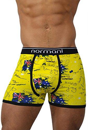 normani 4 x Herren Unterhose Boxershorts Retro Pants Farbiger Mix Schwarz/Gemischt/Neutral Farben Baumwolle mit Elasthan Farbe Crazy Yellow Britannia Größe XL