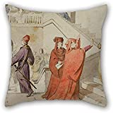 La pintura al óleo Claudi Lorenzale - La reina Joana no puede acompañar al Príncipe de Viana a Barcelona Funda de almohada Funda de regalo de decoración para su esposa