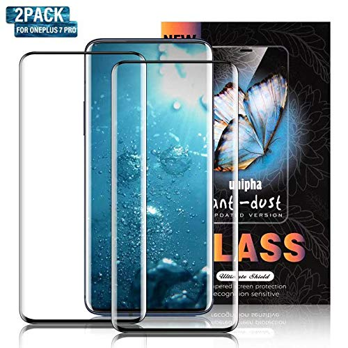 [2 Pack] Soluo Glass Screen Protector for OnePlus 7 Pro, 9H Hardness Anti-Scratch Full Coverage Case Friendly HD Clear Tempered Glass Screen Protector Film for OnePlus 7 Pro