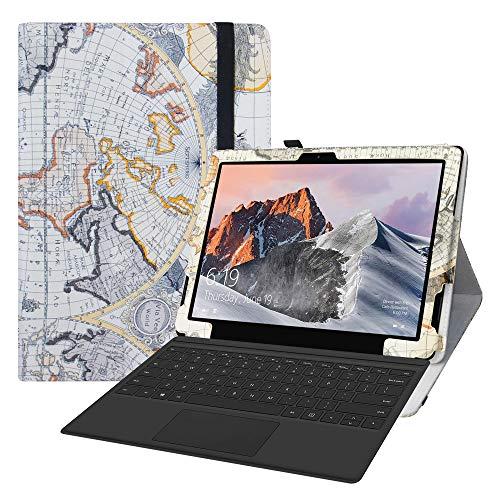 LFDZ Cover TECLAST X6 PRO,Slim Ultra Pelle Sottile e Leggera Cover Case Custodia per TECLAST X6 PRO 12.6 inch 2 in 1 Laptop Tablet(Non Compatibile TECLAST X6),Map White