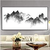 Pintura Al Óleo Pintura abstracta del paisaje Minimalista en blanco y negro Cuadro de la pared para la sala de estar Tinta Montaña Decoración para el hogar Imprimir póster-60cmx70cm