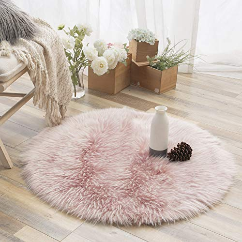 Ashler Faux Fur Rug Soft Faux Peacock Fluffy Rugs Luxurious Carpet Rugs Area Rug for Bedroom, Living Room Carpet Pink- 3 x 3 Feet Round