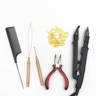 SwingBeauty 6PCS Fusion Pre bonded Hair Extension Tool Kits Keratin Bonding Glue Nail U Tips + Hair Connector Iron + Pliers +Pulling Needle + Loop Threader + Hair Styling Comb