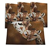 oFloral Giraffe Table Mats Burlap Placemats Washable Heat Resistant Place Mats Adult and Baby Painting Motherly Love Natural Harmony for Party Kitchen Dining 12' X 18' Set of 4