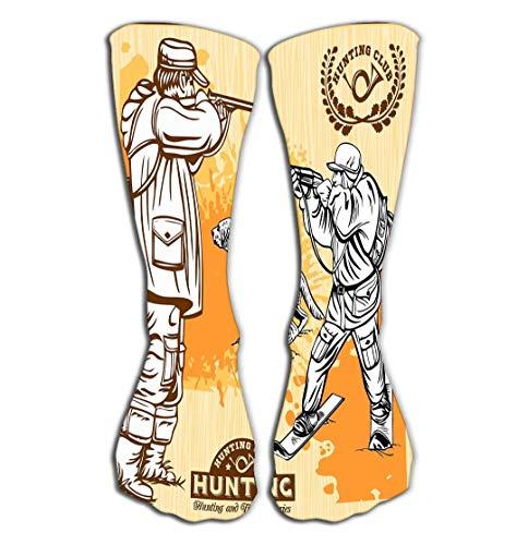 winterwang Calcetines hasta la rodilla para mujer Calcetines deportivos de 50 cm (19,7') perros de cazadores conjunto de imgenes prediseadas retro ms logotipo