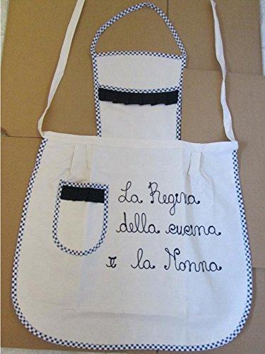 Trama Toscana Grembiule Donna Cuoca cm 60x90 in Cotone 100% con Dedica per la Vostra Nonna