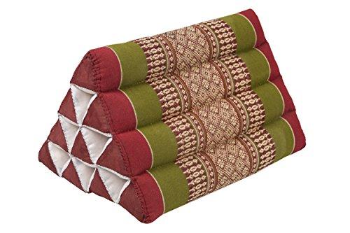 Pequeño cojín Thai triangular 33 x 20 cm cojín con relleno de kapok cojín triangular de Tailandia - Cojín decorativo color rojo y verde
