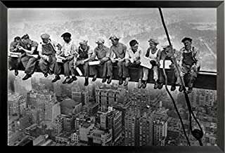 Buyartforless IF IF GP BAW00200 36x24 1.25 Black Framed Men Skyscraper Steel Beam Lunchtime ATOP NYC by John C Ebbets Photographic Art Print Poster, 36