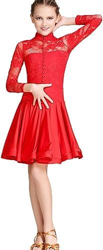 MoLiYanZi Exécution Concours de Danse Latine pour Les Femmes Col Rond sans Manches Multicouche Gland Tenue de Danse, Rose rouge, S