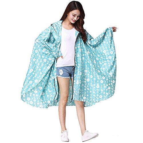 XFentech Femmes Respirant de Vêtements de Pluie de Voyage en Plein air Cyclisme Poncho Zipper Léger Capuche Imperméable Manteau Imperméable, Bleu