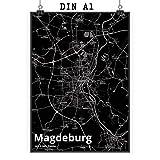 Mr. & Mrs. Panda Poster DIN A1 Stadt Magdeburg Stadt Black