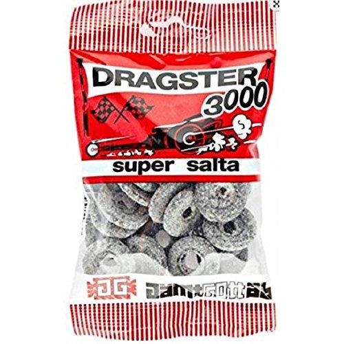 3 Bags x 50g of Dragster 3000 Super Salta - Original - Swedish - Salty Licorice - Salmiak - Salmiac - Wine Gums - Candies - Sweets