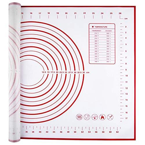 Backmatte mit Messung, 70x50cm Antihafte Silikon Backunterlage Matten für Fondant Plätzchen Pizza Teig