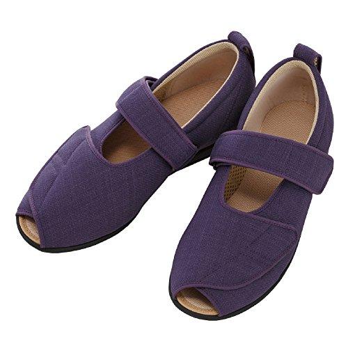 介護シューズ あゆみ オープンマジックIII 施設・院内用 紫 LLサイズ 24.0-24.5cm 足囲5E 両足