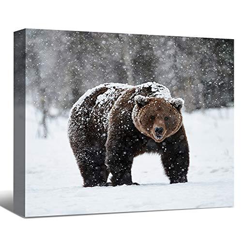 SENEW Animal Canvas Wall Art for Bedroom, Living Room, Office, Black Bear Framed Canvas Art for Home Decor,20