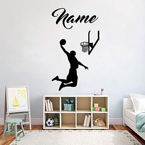 Baloncesto Nombre Personalizado Etiqueta de la Pared Reproductor de Vinilo y Baloncesto Dormitorio decoración extraíble Arte Pared Pegatinas Mural 57X94cm