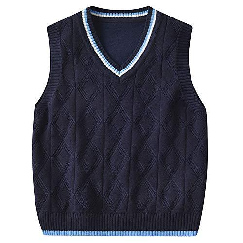 Shengwan Kinder V-Ausschnitt Strickweste Jungen Mädchen Ärmellos Sweater Pullover Gestrickte Weste Top Navy 100
