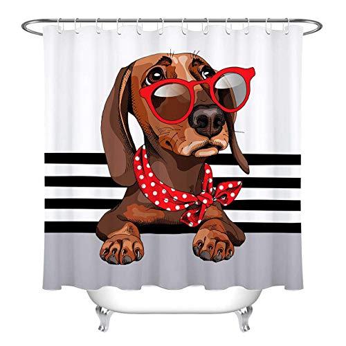 /N Dachshund Dog Red Gafas de Sol baño Tela Impermeable Cortina de Ducha Impermeable Material de poliéster Lavable a máquina