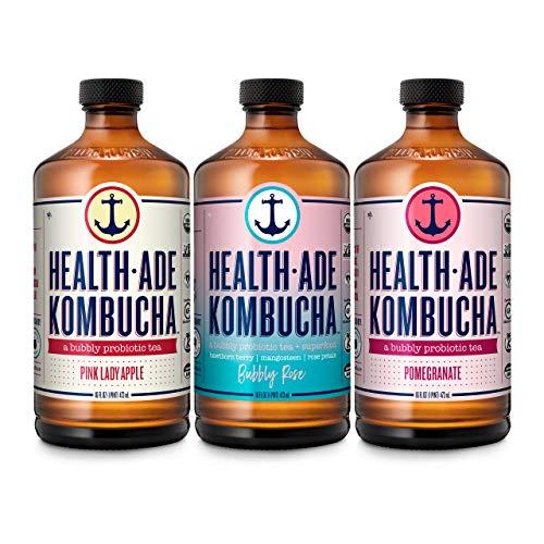 Health-Ade Kombucha Tea Organic Probiotic Drink, 12 Pack Case (16 Fl Oz Bottles), Fan Favorite Variety Pack (Pink Lady Apple, Bubbly Rose, Pomegranate)