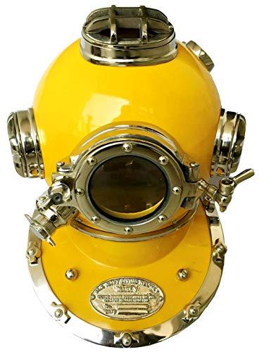 Marine Nautical Store Antik Gelb Tauchhelm US Navy Mark V Scuba Divers Massiv Messing Helm Deko