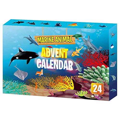Irfora Adventskalender, 24-teiliges Weihnachts-Adventskalender-Kit für Meerestiere und Countdown-Kalender für Kinder