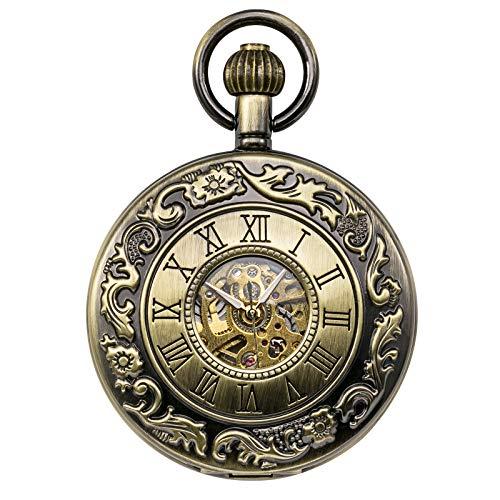Treeweto Relojes mecánicos clásicos con números romanos reloj de bolsillo con cadena, bronce
