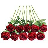 JUSTOYOU Rose Artificial Silk Flowers Bouquet Home Office Arreglos de Boda Vino Tinto (10 PCS)