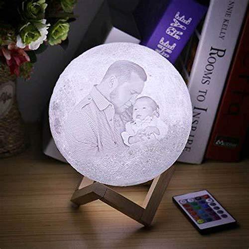 JINFU Mondlampe mit Bild graviert Prime Moonlight Nachtlicht Home Decoration Customized Personalized Moon USB Ladelampe Fernbedienung Schalter Geschenke für Freunde (10cm)