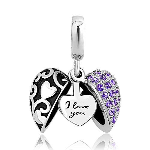 ShinyJewelry I Love You Heart Charm Dangle Bead for European Bracelet Necklace (Purple-2)