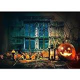 Fondo de Halloween lápida Castillo Calabaza Linterna Luna fotografía Fondo Estudio apoyos A2 9x6ft / 2,7x1,8 m