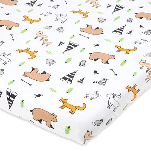 Cuddly Cubs Graco Pack n Play Fitted Sheet – Woodland Playard Sheet – Snuggly Soft Jersey Cotton Mini Crib Sheet for Boy, Girl – 1 Pc