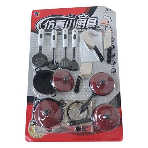 Ba30DEllylelly 13 unids/set vajilla roja, utensilios de cocina de simulación, olla, cuchara, espátula de cocina, cuchillo, juguetes de simulación para niños