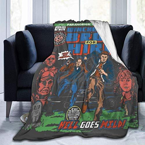 Manta de Franela Tela de Cepillo Extra Suave Súper cálida Mantas para sofás acogedora y Ligera Winchester Bros Hire Classic Comic