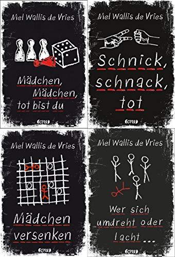 Mel Wallis de Vries - 4 Bände im Set (Mädchen, Mädchen, tot bist du / Schnick, schnack, tot / Mädchen versenken / Wer sich umdreht oder lacht ) + 1 exklusives Postkartenset