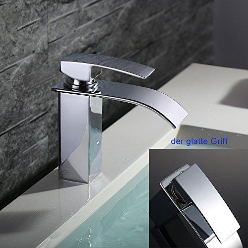 Homelody – Einhebel-Waschtischarmatur, ohne Ablaufgarnitur, Wasserfallarmatur breite Form, Chrom - 5