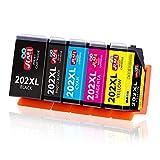 JIMIGO 202 XL Cartouche d'encre compatible pour Epson 202 202XL avec Epson Expression Premium XP-6000 XP-6005 XP-6100 XP-6105 (Multipack,1 Noir,1 Noir Photo,1 Cyan,1 Magenta,1 Jaune)