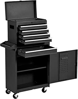 Removable Tool Chest,5-Drawers Tool BOX,Tool Chest with Wheels (2PCS Lockable) and Drawers,Tool Storage with Tray and Cabinet,Organizer(Black)