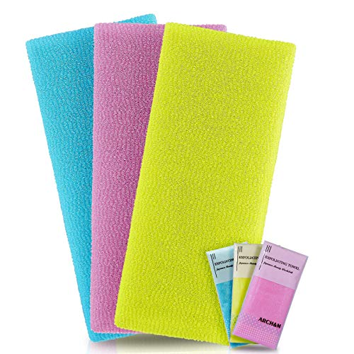 ARCH&M Exfoliating Towel Microabrasion Towel Washcloths Nylon Japanese Bath Towel Wash Cloth Korean Exfoliating Towel for Body Beauty Washcloth Loofah Exfoliating Body Scrub Back Scrubber 3 Pack