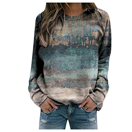 IFOUNDYOU Sweatshirt Pullover Damen ohne Kapuze Rundhals Sweatshirt mit Print Lang Basic Langarmshirt Sweatshirt Leichter Herbst Winter Streetwear Sweatshirts Casual Vintage Dünne Sweatshirts Tops