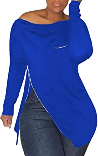 Howely Women Soft Off Shoulder Irregular Hem Pullover Long Sleeve Sweatshirts