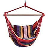 wang tong shop Deluxe Hammock Rope Chair Patio Porch Yard Tree Hanging Air Swing Outdoor Red
