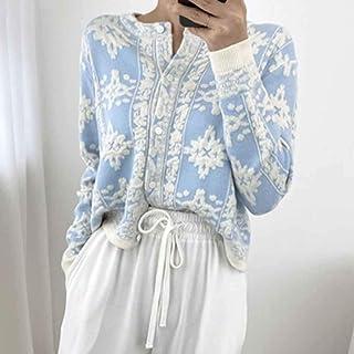 XYZMDJ Cárdigans Coreanos Florales estereoscópicos de otoño 2020 suéteres de Manga Larga de un Solo Pecho para Mujer cárdi...