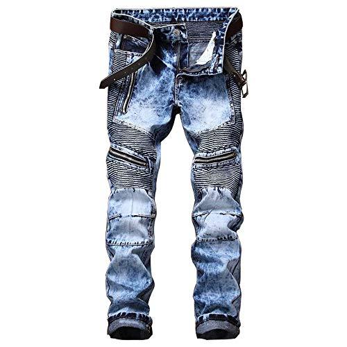 Aitita. - Pantalones de mezclilla para hombre con cierre de cremallera, lavados, tipo motociclista, de pierna recta., Classic, 32 ancho x 31 largo